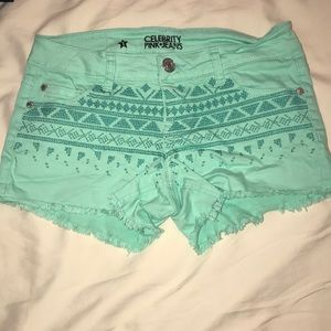 teal celebrity pink cut off shorts